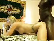 Beautiful white blonde woman with black man interracial sex