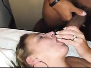 Black man cumming in wifes mouth