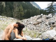 Exhibitionist couple banging doggystyle outdoor in the mountains