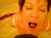 Hot mom cock sucking and cum in mouth with swallow